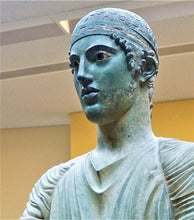 "Load image into Gallery viewer, Roman Greek Charioteer of Delphi victorious Bust Sculptural Wall frieze plaque www.Neo-Mfg.com 10"" tall museum reproduction"