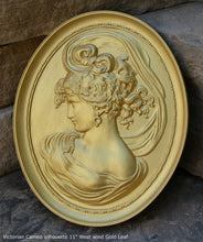 "Load image into Gallery viewer, Victorian Cameo silhouette West wind Sculpture wall Plaque Bas relief 11"" www.Neo-Mfg.com left face"