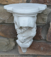 "Load image into Gallery viewer, Gargoyle Monk Cathedral wall Shelf corbel Grotesque goblin sculpture www.NEO-MFG.com 10.25"" Medieval"