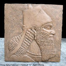 Load image into Gallery viewer, King Ashurnasirpal II Nimrud bust cameo Fragment Sculptural wall relief plaque www.Neo-Mfg.com 13""