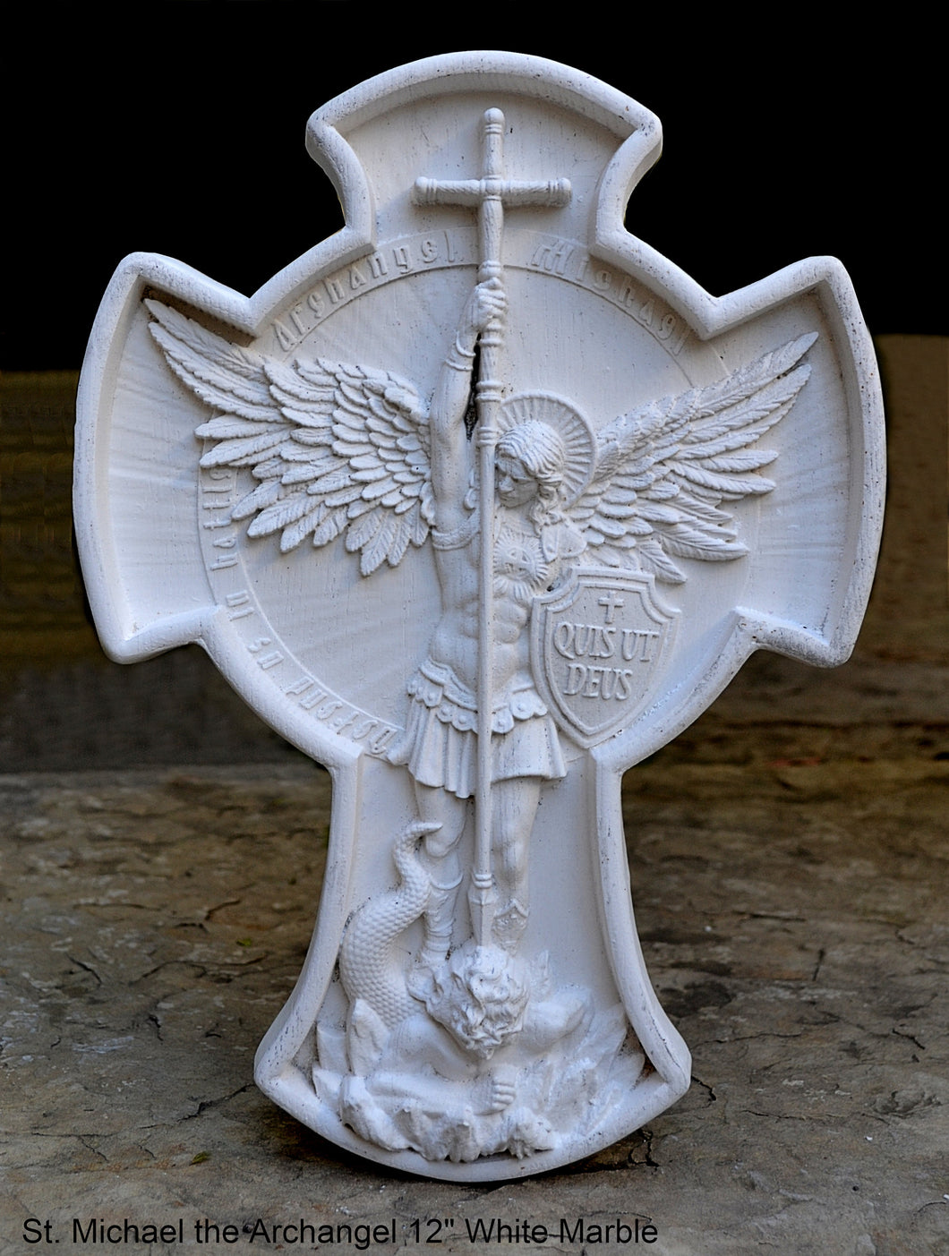 "Historical religious Mythological St. Michael the Archangel wall angel 12"" sculpture plaque Sculpture www.Neo-mfg.com"