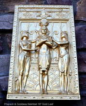 "Load image into Gallery viewer, Egyptian Pharaoh & Goddess Nekhbet Wall Frieze plaque sculpture 16"" tall www.NEO-MFG.com"