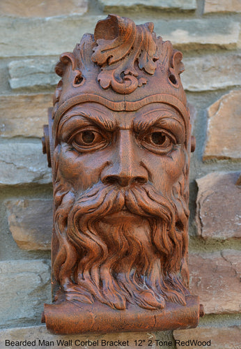 "Bearded Man Wall Corbel Bracket carving Sculptural wall relief plaque 11.125"" www.Neo-Mfg.com"