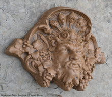 "Load image into Gallery viewer, Greenman Satyr Bacchus Wall Plaque sculpture Sconce www.Neo-Mfg.com 12"" home decor art   Roman Greek God Wine"