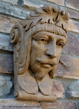 "Load image into Gallery viewer, French Man Wall Corbel Bracket carving Sculptural wall relief plaque 11.125"" www.Neo-Mfg.com Face Head"