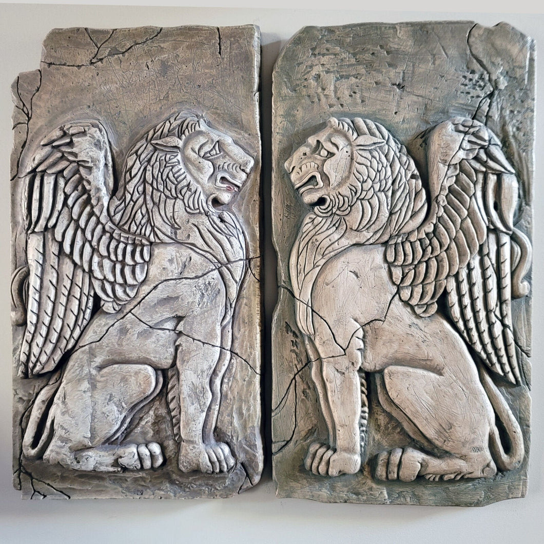 "Animal Winged Lion stone fragment sculpture wall plaque relief 30"" tall www.Neo-Mfg.com Grand Scale SOLD as EACH"