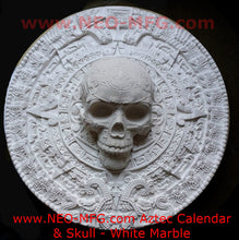 "Load image into Gallery viewer, History Aztec Maya Artifact Carved Skull on Calendar Sculpture Statue 17"" Tall Neo-Mfg"