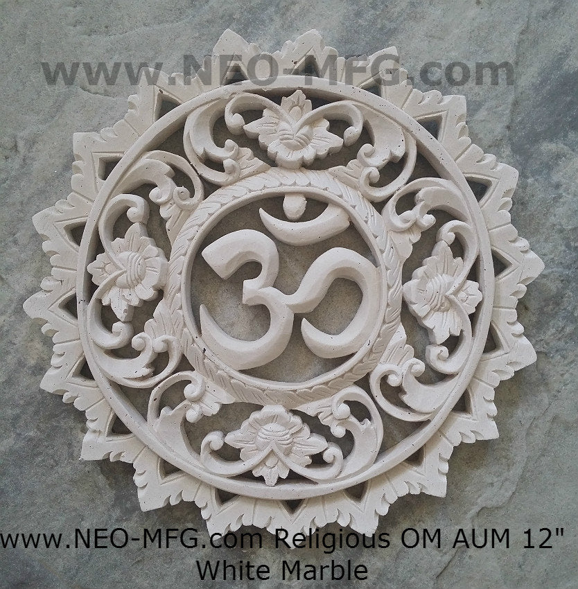 "Religious OM AUM Nameste Carved Sculpture Statue Plaque 12"" Neo-Mfg"