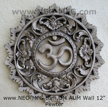 "Load image into Gallery viewer, Religious OM AUM Nameste Carved Sculpture Statue Plaque 12"" Neo-Mfg"