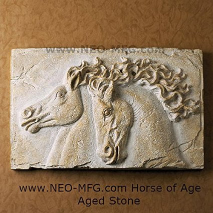 "Horse of Age Stone Carving Sculpture Wall Frieze LARGE 23"" wide made in USA www.Neo-Mfg.com"