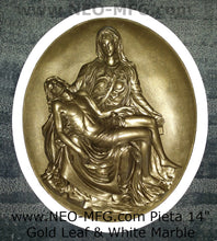 "Load image into Gallery viewer, Pieta Wall Sculpture After the original by Michelangelo 14.5"" tall Neo-Mfg"