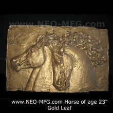 "Load image into Gallery viewer, Horse of Age Stone Carving Sculpture Wall Frieze LARGE 23"" wide made in USA www.Neo-Mfg.com"