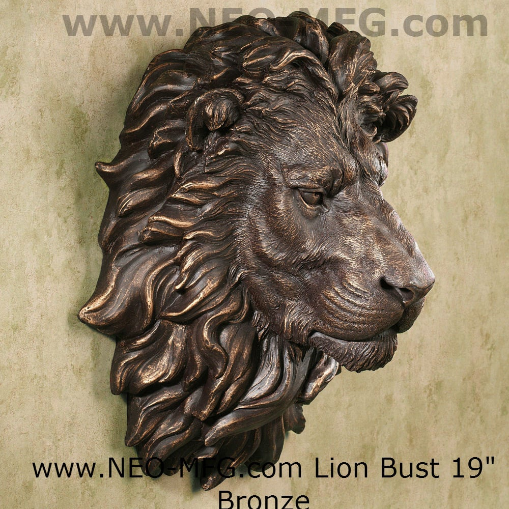 "African lion wall Sculpture plaque 18"" www.Neo-Mfg.com Grand size"