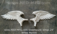 "Load image into Gallery viewer, Angel Wings STEAMPUNK wall sculpture statue plaque www.Neo-Mfg.com 24"" wide 2pc"