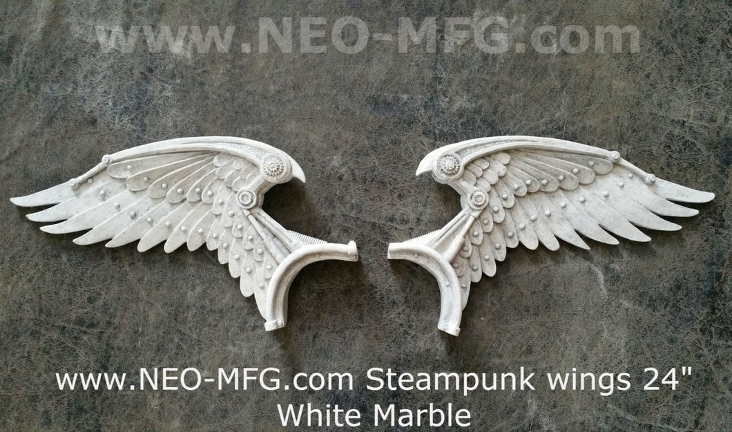 "Angel Wings STEAMPUNK wall sculpture statue plaque www.Neo-Mfg.com 24"" wide 2pc"