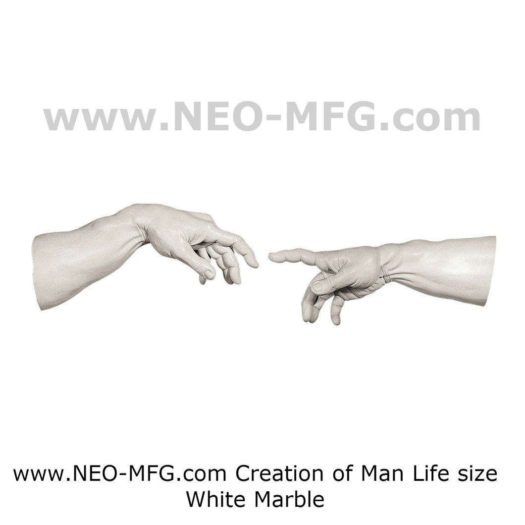 Creation of Man 2pc Sculpture Statue White finish Neo-mfg Michelagelo's  Life size