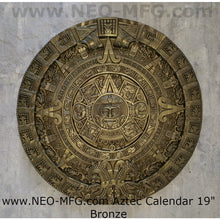 "Load image into Gallery viewer, History MAYAN AZTEC CALENDAR Sculptural wall relief plaque 19"" Museum Quality Neo-Mfg"
