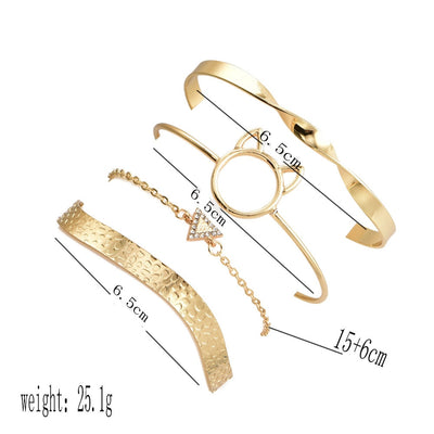 Crystal Triangle Circle Leaf Chain Gold Bracelet