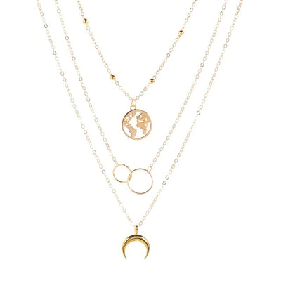 Retro Moon World Map Circle Pendant Multilayer Necklace