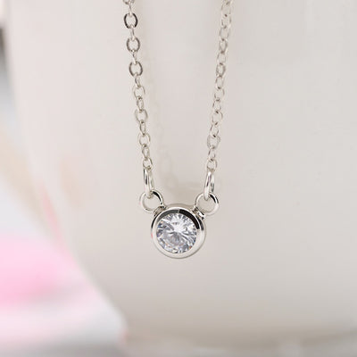 Fashion Simply Small Round Cubic Pendant Necklace