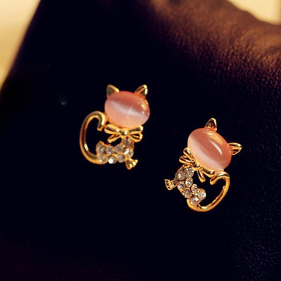 Rhinestone Cat Earrings