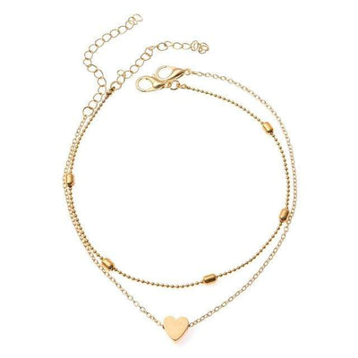 Renevatio Online 1 Gold Simple Heart Foot Ankle Bracelets