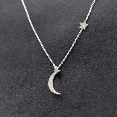 Renevatio Online 19-Silver Simple Star & Moon Pendant Necklace
