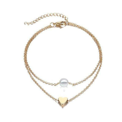 Renevatio Online 3 Gold Simple Heart Foot Ankle Bracelets