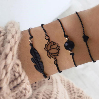 Renevatio Online 4PCs Gothic Black Feather Lotus Bracelets