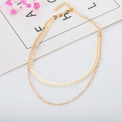 Renevatio Online Gold Chain Choker Two Layers Necklaces