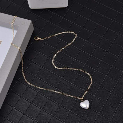 Renevatio Online Gold Color Sweet Girls Elegant Pearl Heart Necklace