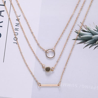 Renevatio Online Gold Geometric Round Chokers Multilayer Necklaces