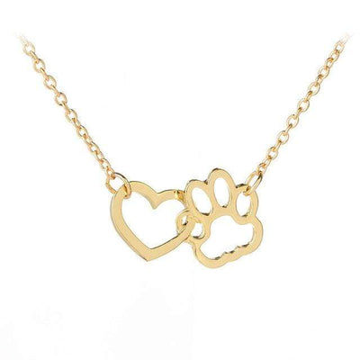 Renevatio Online Gold Hollow Pet Paw Footprint Necklaces