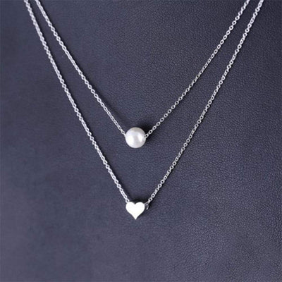 Renevatio Online Pearl love Heart Double layer Clavicle Chain Necklace