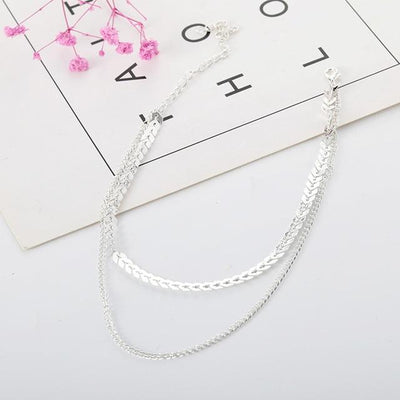 Renevatio Online Silver Chain Choker Two Layers Necklaces