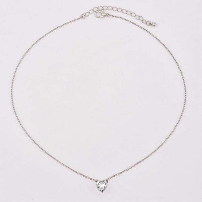 Renevatio Online Silver Fashion Crystal Heart Necklace