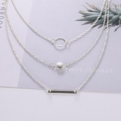 Renevatio Online Silver Geometric Round Chokers Multilayer Necklaces
