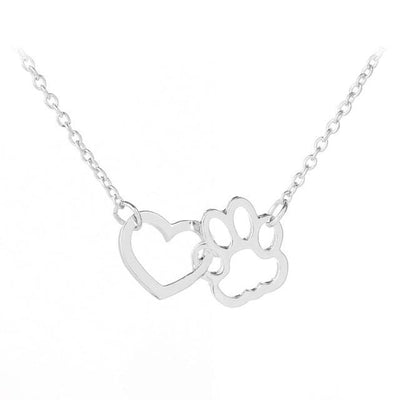 Renevatio Online Silver Hollow Pet Paw Footprint Necklaces