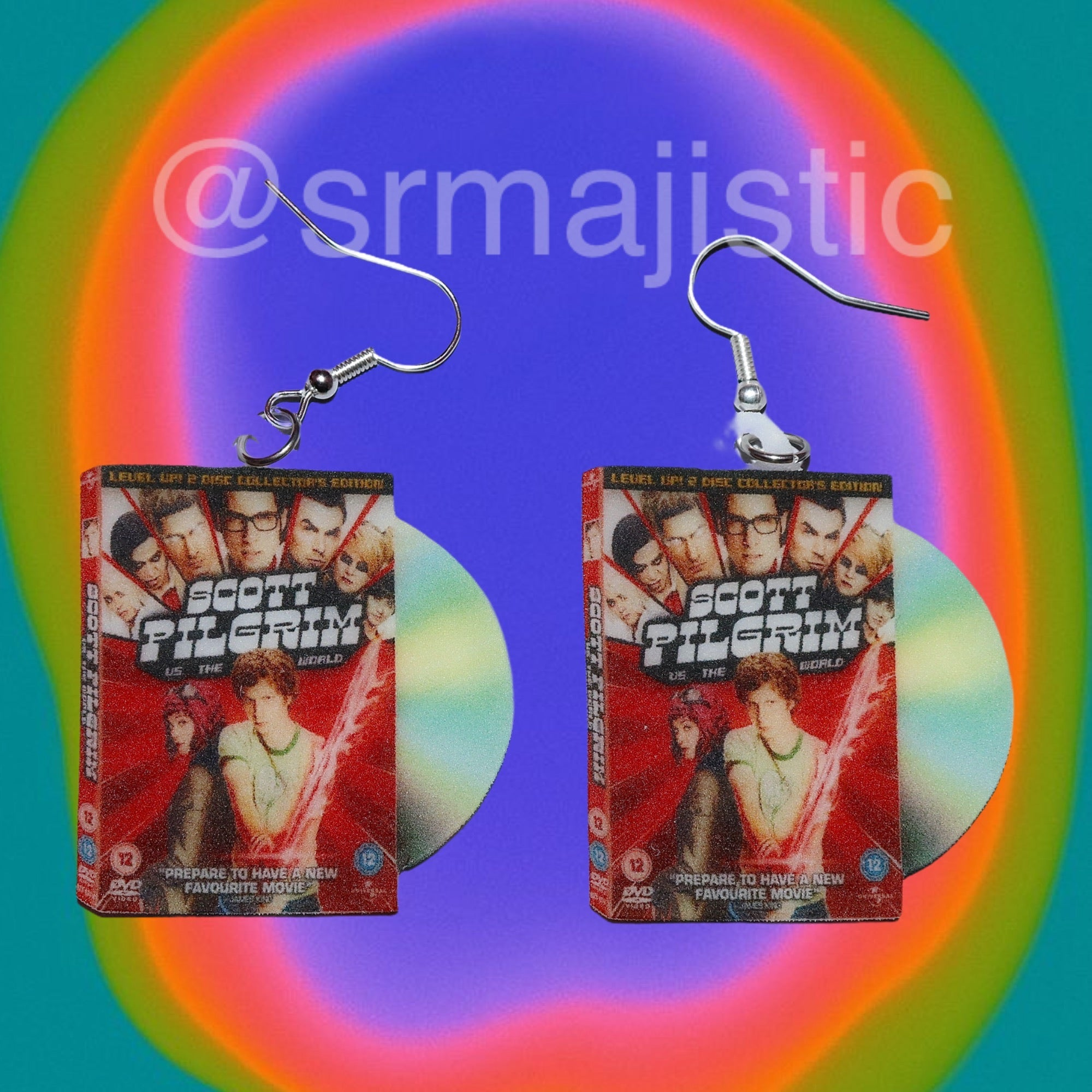 Scott Pilgrim VS the World (2010) DVD 2D detailed Handmade Earrings!
