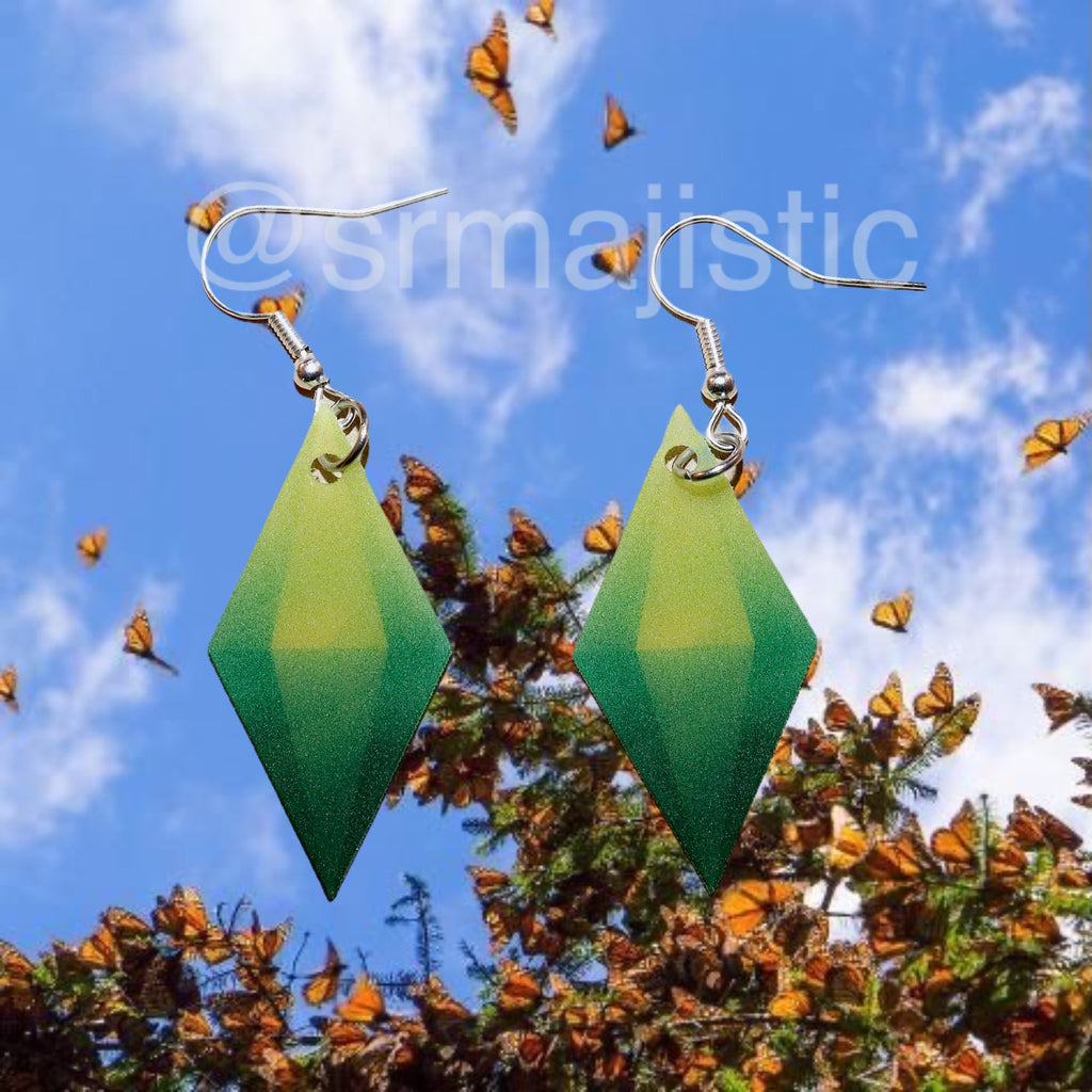The Sims Plumbob Green Gem Symbol 2D detailed Handmade Earrings!