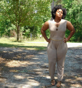 Sleeveless Taupe Jumpsuit with Belt