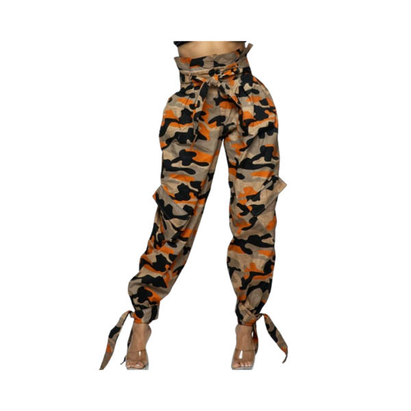 High-waist Camouflage Cargo Pants