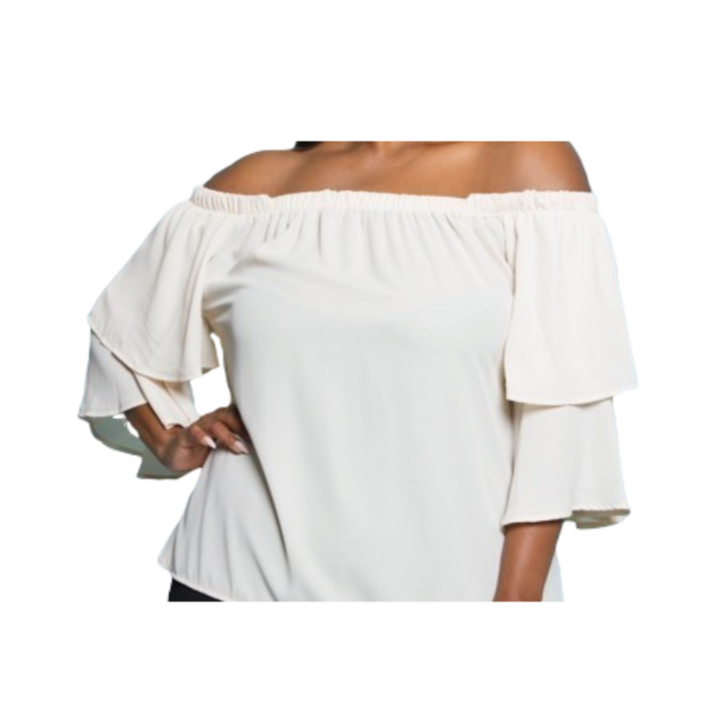 Cream Burle`e Off The Shoulder Top