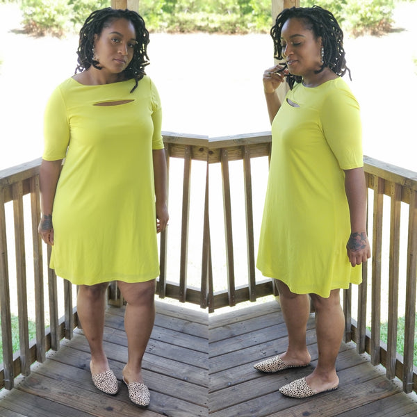 key lime peep slit dress