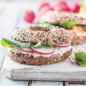 Feta Cheese & Arugula Oaty Brown Bagel Sandwich