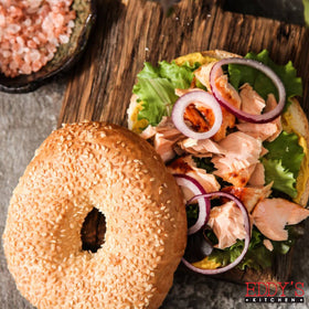 Roasted Salmon Bagel Sandwich