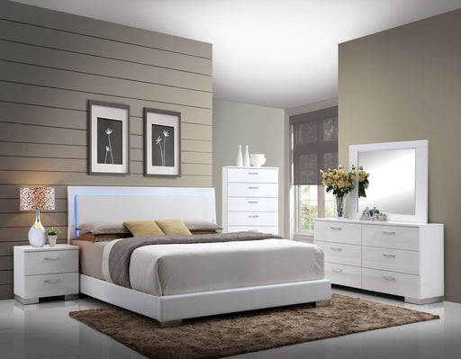 Lorimar White PU & Chrome Leg Queen Bed image