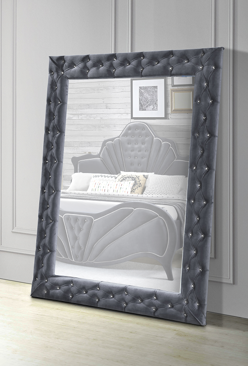 Dante Gray Velvet Accent Floor Mirror image