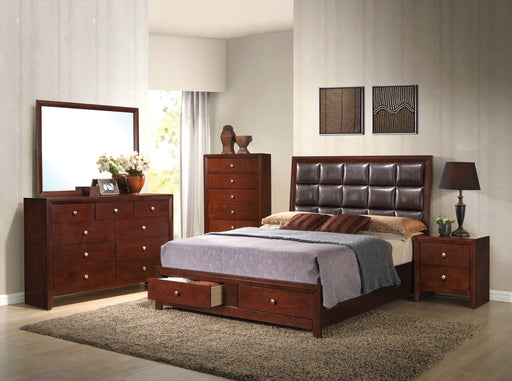 Ilana Brown PU & Brown Cherry Queen Bed image