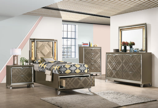 Skylar LED, PU & Dark Champagne Full Bed (Storage & LED) image